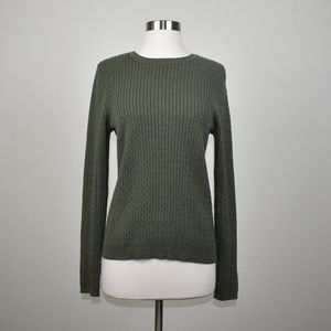 Croft& & barrow Green Cable Knit Sweater Size M